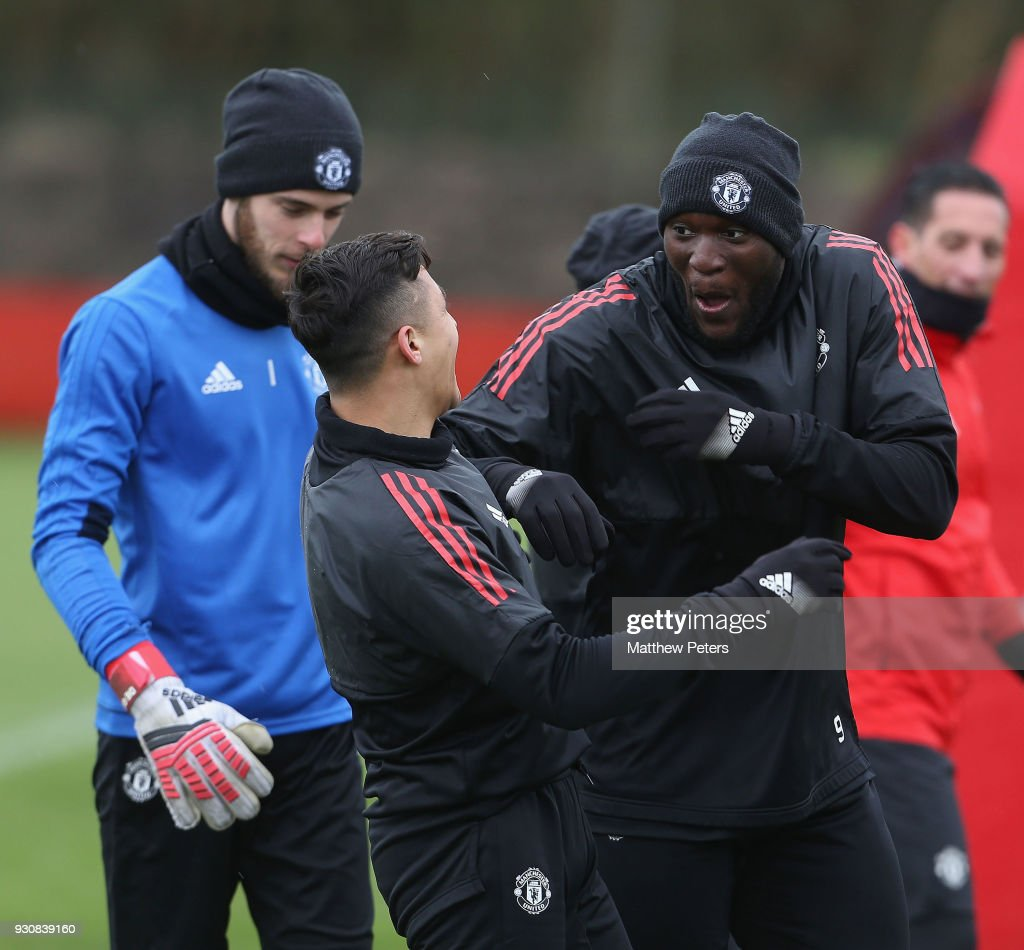 Romelu Lukaku and Alexis Sanchez of Manchester United in action during a first team training session at Aon Training Complex on March 12, 2018 in Manchester, England.