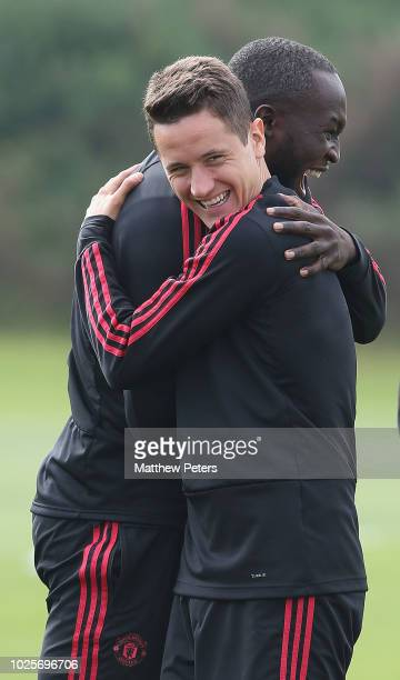 Romelu Lukaku and Ander Herrera of Manchester United in action during a first team training session at Aon Training Complex on September 1 2018 in...