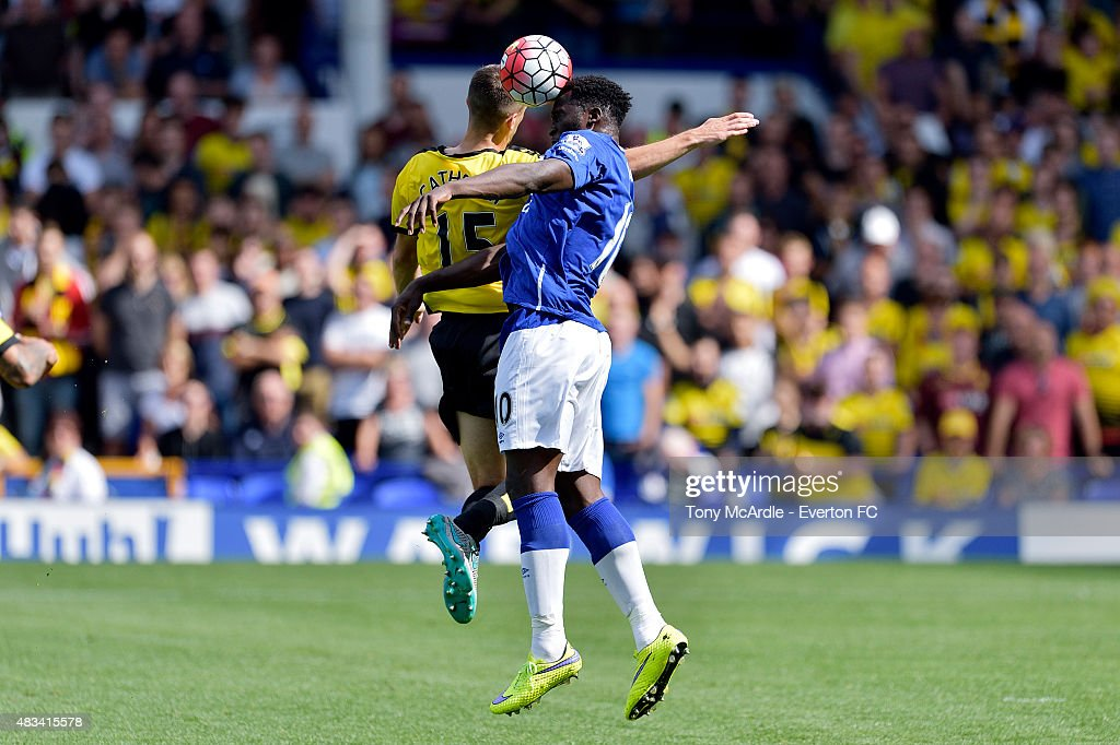 Romelu Lukaku and Craig Cathcart of Watford during the Premier League match between Everton and Watford at Goodison Park on August 08, 2015 in Liverpool, England.
