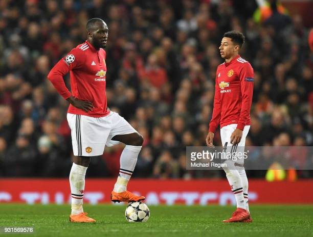 Romelu Lukaku and Jesse Lingard of Manchester United look dejected during the UEFA Champions League Round of 16 Second Leg match between Manchester...