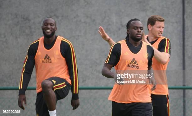 Romelu LUKAKU and Jordan LUKAKU pictured during a training session of the Belgian national soccer team ' Red Devils ' at the Belgian National...