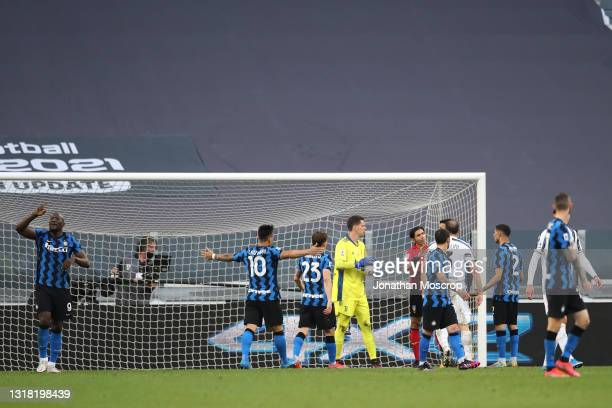 Romelu Lukaku and Lautaro Martinez of Internazionale appeal for a goal that was intially ruled out by the referee Gianpaolo Calvarese checked with...