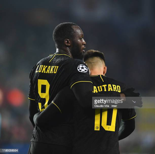 Romelu Lukaku and Lautaro Martínez of FC Internazionale celebrate at the end of the match after the fourth goal was ruled out during the UEFA...