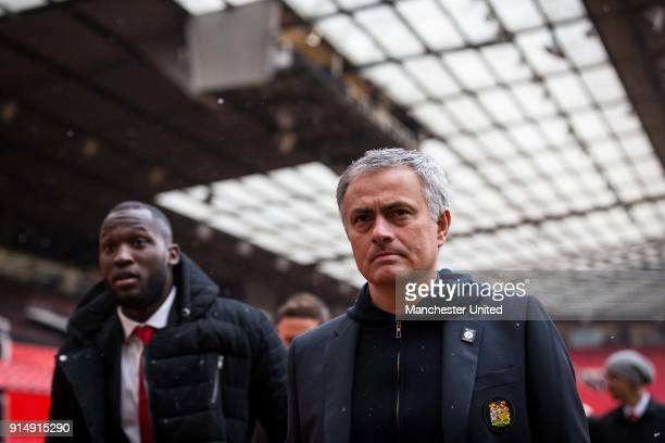 Romelu Lukaku and Manager Jose Mourinho of Manchester United attend a service to commemorate the 60th anniversary of the Munich Air Disaster at Old...