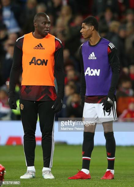 Romelu Lukaku and Marcus Rashford of Manchester United warm up ahead of the Premier League match between Manchester United and Newcastle United at...