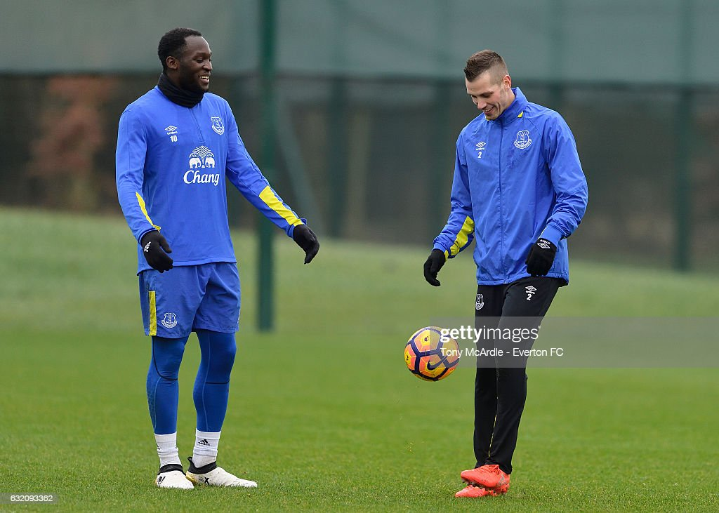 Romelu Lukaku and Morgan Schneiderlin during the Everton FC training session at USM Finch Farm on January 19, 2017 in Halewood, England.