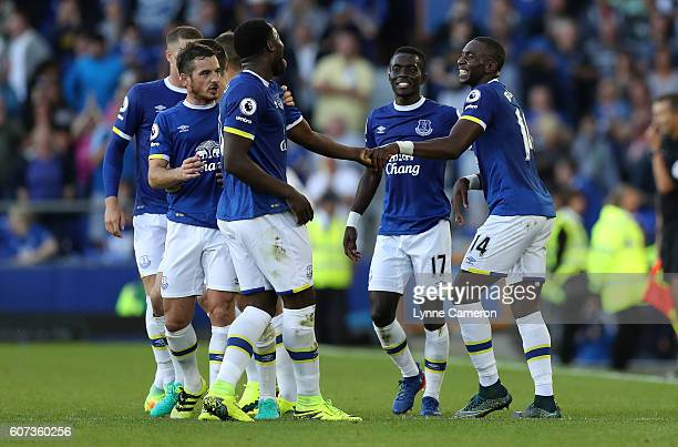 Romelu Lukaku and Yannick Bolasie of Everton celebrate during the Premier League match between Everton and Middlesbrough at Goodison Park on...