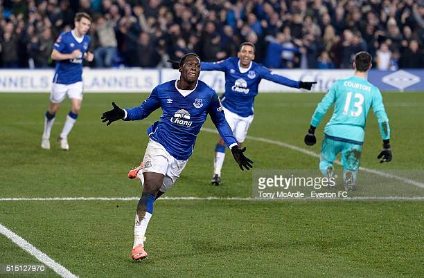 Romelu Lukaku celebrates his first goal during The Emirates FA Cup Sixth Round match between Everton and Chelsea at Goodison Park on March 12 2016 in...