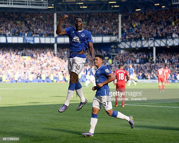 Romelu Lukaku celebrates his goal during the Barclays Premier League match between Everton and Liverpool at Goodison Park on October 04, 2015 in...