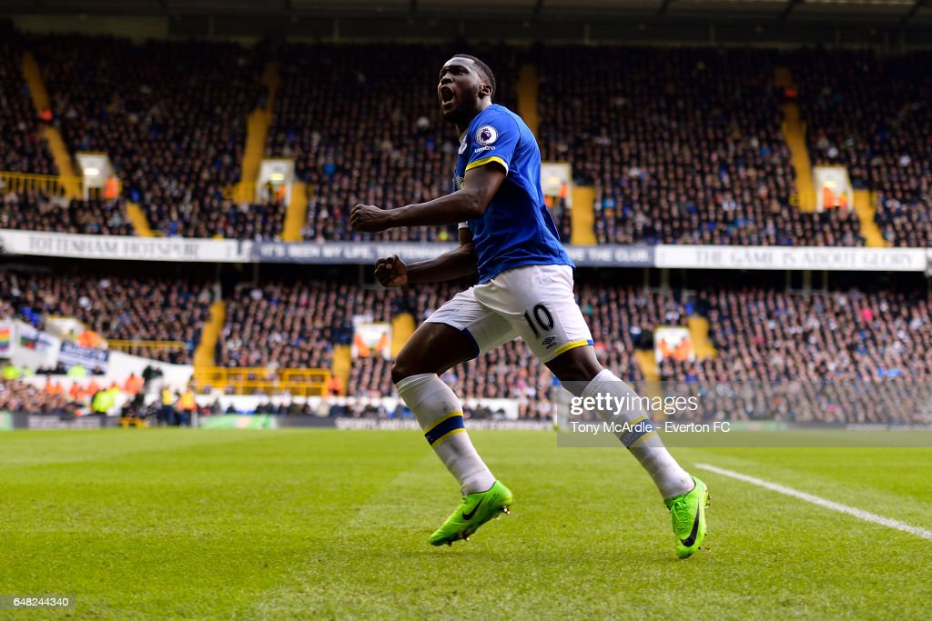 Romelu Lukaku celebrates his goal during the Premier League match between Tottenham Hotspur and Everton at White Hart Lane on March 5, 2017 in London, United Kingdom.