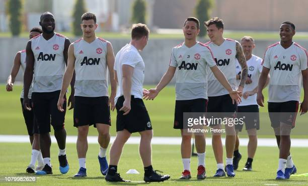 Romelu Lukaku Diogo Dalot Ander Herrera Victor Lindelof and Anthony Martial of Manchester United in action during a first team training session at...