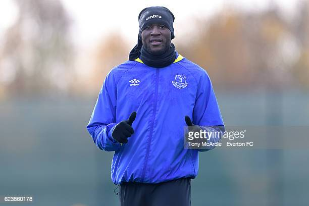 Romelu Lukaku during the Everton FC training session at Finch Farm on November 17 2016 in Halewood England