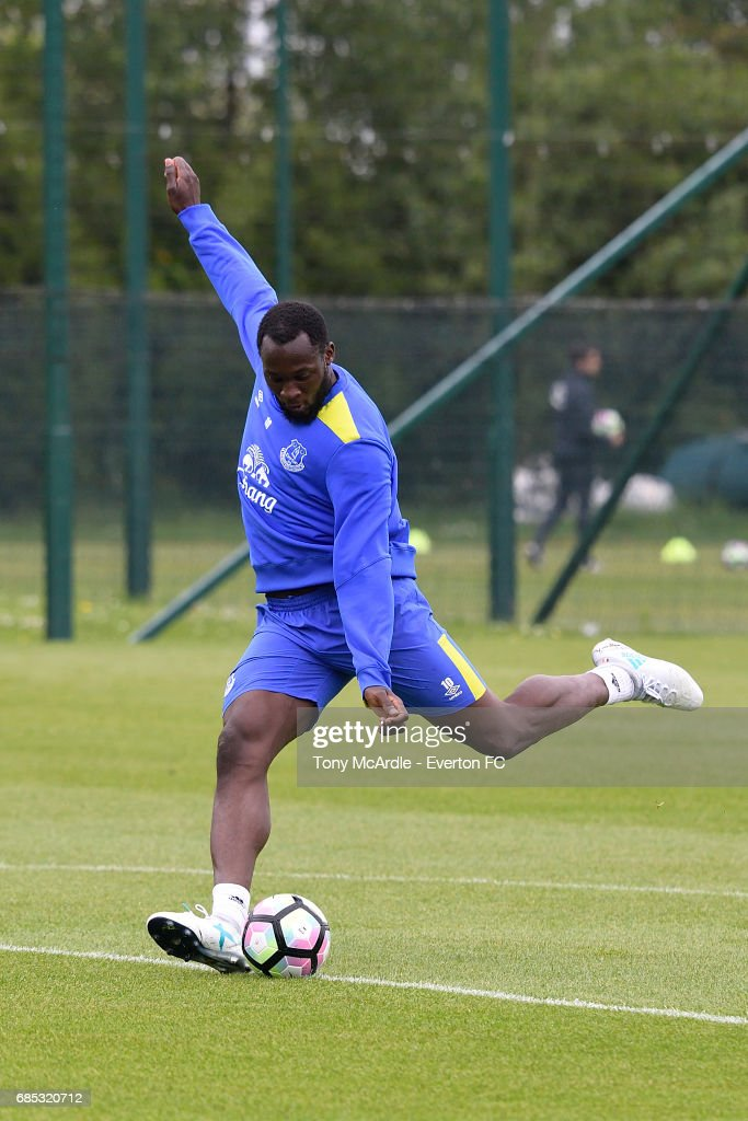 Romelu Lukaku during the Everton FC training session at USM Finch Farm on May 19, 2017 in Halewood, England.