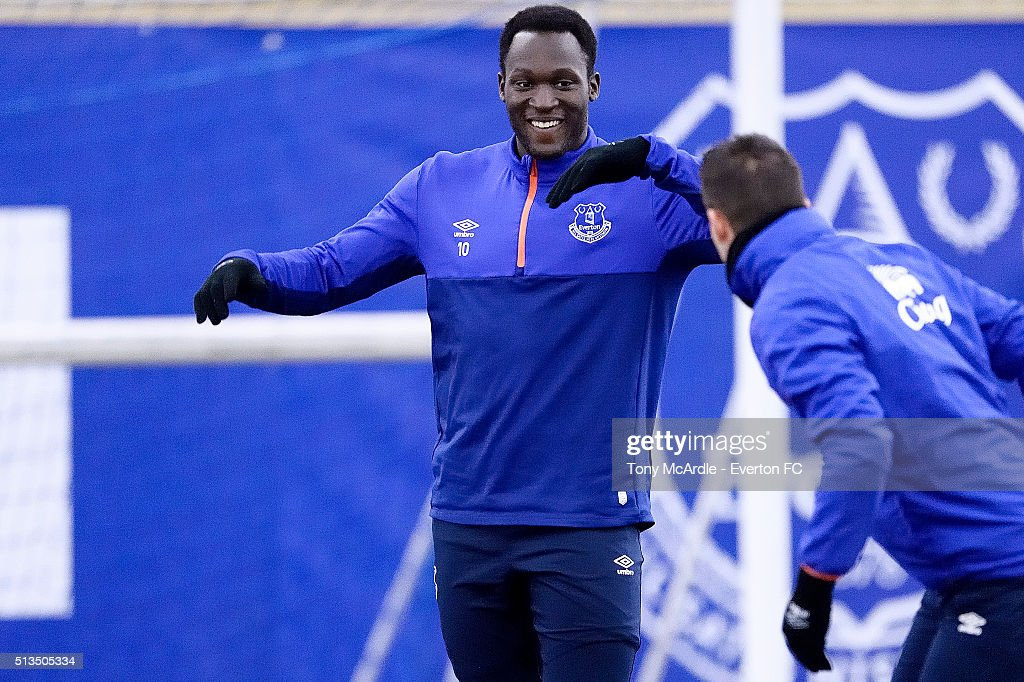 Romelu Lukaku during the Everton training session at Finch Farm on March 03, 2016 in Halewood, England.