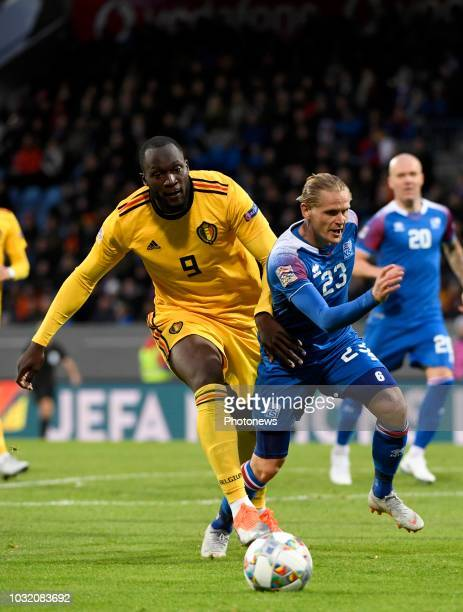 Romelu Lukaku forward of Belgium and Ari Skulason of Iceland pictured during the UEFA Nations League match between Iceland and Belgium on September...