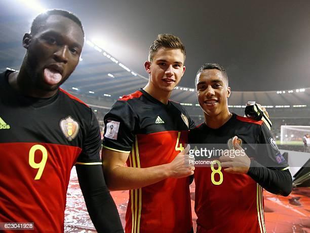 Romelu Lukaku forward of Belgium and Leander Dendoncker midfielder of Belgium and Youri Tielemans midfielder of Belgium team of Belgium celebrates...