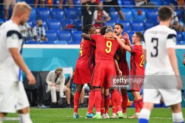 Romelu Lukaku forward of Belgium celebrates after scoring with Nacer Chadli midfielder of Belgium and Leandro Trossard forward of Belgium during the...