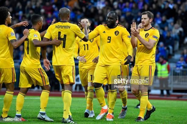 Romelu Lukaku forward of Belgium celebrates scoring a goal with teammates Axel Witsel midfielder of Belgium Youri Tielemans midfielder of Belgium...