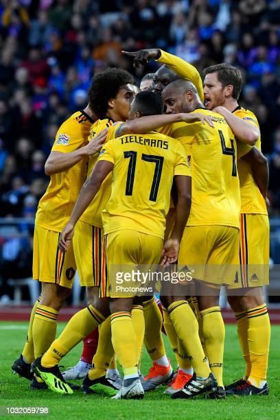 Romelu Lukaku forward of Belgium celebrates scoring a goal with teammates Eden Hazard midfielder of Belgium Axel Witsel midfielder of Belgium Youri...