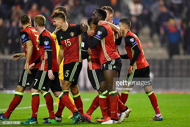 Romelu Lukaku forward of Belgium celebrates scoring a goal with teammates during the World Cup Qualifier Group H match between Belgium and Estonia at...