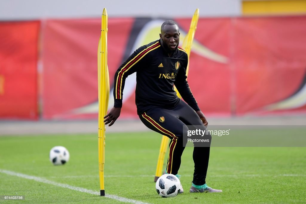 Romelu Lukaku forward of Belgium in action during a training session of the National Soccer Team of Belgium as part of the preparation prior to the FIFA 2018 World Cup Russia group G phase match between Belgium and Panama at the Guchkova Sports center in Dedovsk on June 14, 2018 in Moscow, Russia,