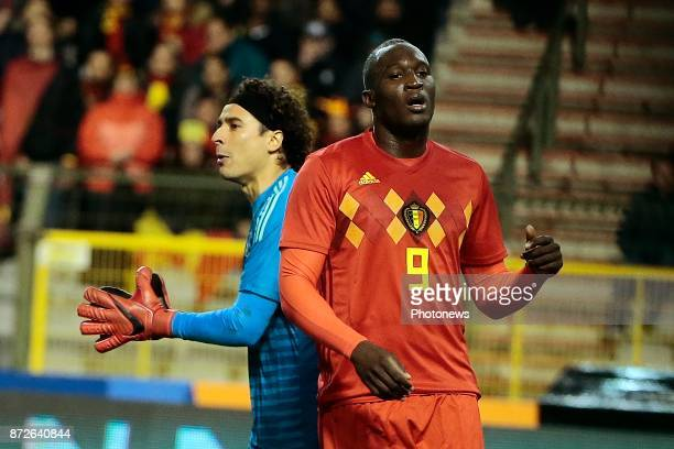 Romelu Lukaku forward of Belgium looks dejected after missing an opportunity during a FIFA international friendly match between Belgium and Mexico at...