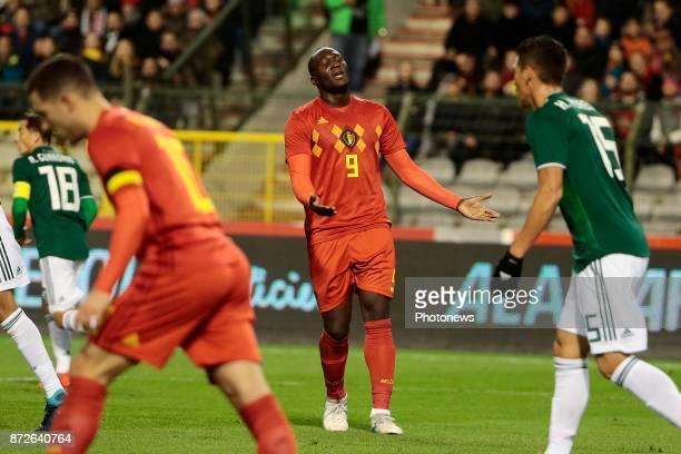 Romelu Lukaku forward of Belgium looks dejected during a FIFA international friendly match between Belgium and Mexico at the King Baudouin Stadium on...