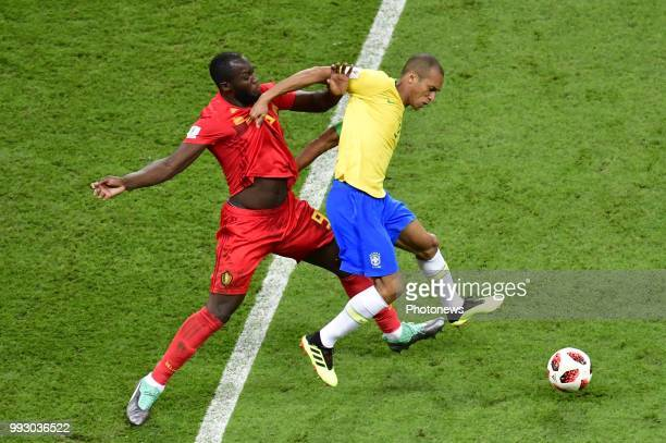 Romelu Lukaku forward of Belgium Miranda defender of Brazil during the FIFA 2018 World Cup Russia Quarterfinal match between Brazil and Belgium at...