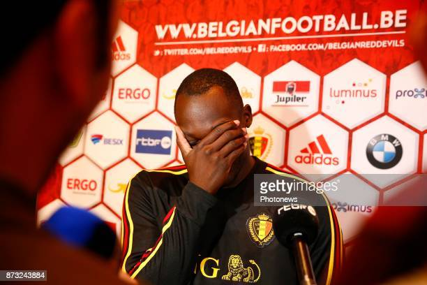 Romelu Lukaku forward of Belgium picture during the press conference of the Red Devils at the national training center on November 11 2017 in Tubize...
