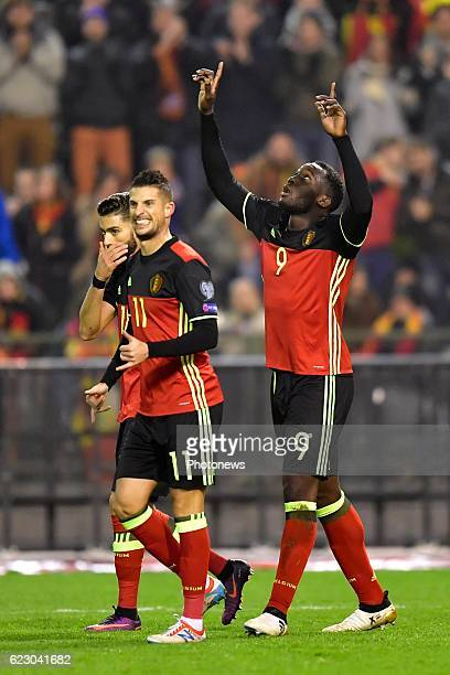 Romelu Lukaku forward of Belgium points out to heaven after scoring during the World Cup Qualifier Group H match between Belgium and Estonia at the...