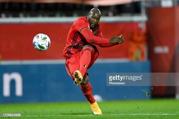 Romelu Lukaku forward of Belgium shoots towards the goal during the UEFA Nations League match group stage final tournament - League A - Group 2...