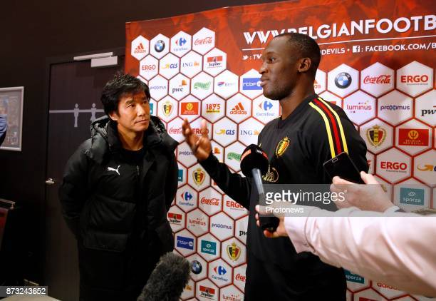 Romelu Lukaku forward of Belgium with Japan journalist picture during the press conference of the Red Devils at the national training center on...