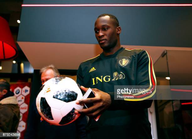 Romelu Lukaku forward of Belgium with the new WK 2018 official ball picture during the press conference of the Red Devils at the national training...