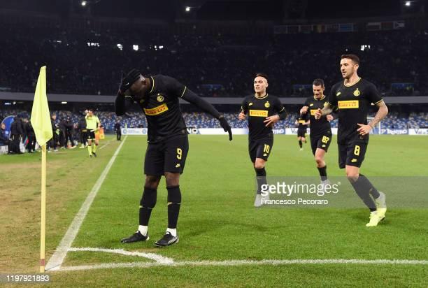 Romelu Lukaku Lautaro Martinez and Matias Vecino of FC Internazionale celebrate the 02 goal scored by Romelu Lukaku during the Serie A match between...