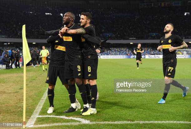 Romelu Lukaku Lautaro Martinez and Matias Vecino of FC Internazionale celebrate the 02 goal scored by Romelu Lukaku during the Serie A match between...