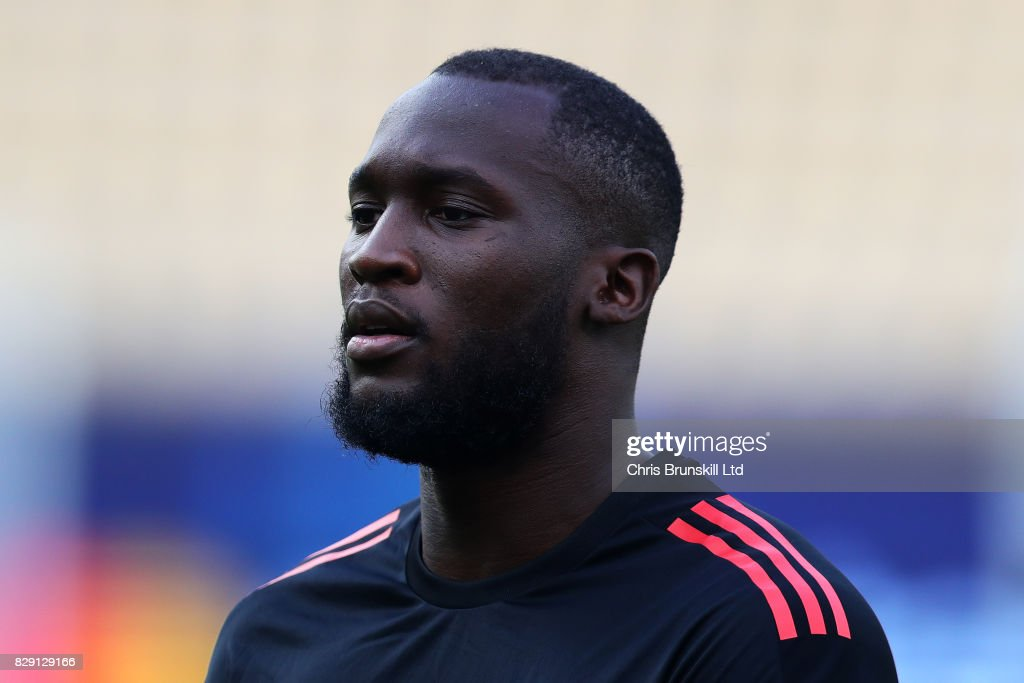 Romelu Lukaku looks on during a Manchester United training session ahead of the UEFA Super Cup at the National Arena Filip II Macedonian on August 7, 2017 in Skopje, Macedonia.