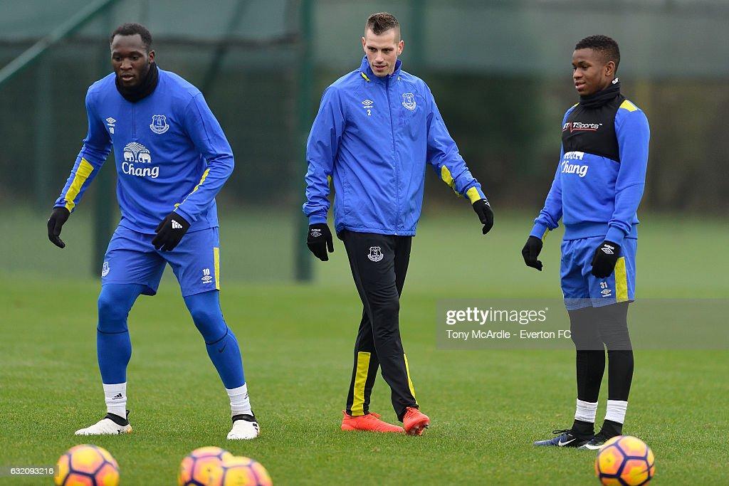 Romelu Lukaku Morgan Schneiderlin and Ademola Lookman during the Everton FC training session at USM Finch Farm on January 19, 2017 in Halewood, England.