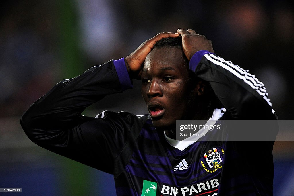 Romelu Lukaku of Anderlecht reacts during the UEFA Europa League round of 16 first leg match between Hamburger SV and Anderlecht at HSH Nordbank Arena on March 11, 2010 in Hamburg, Germany.