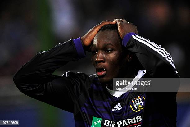 Romelu Lukaku of Anderlecht reacts during the UEFA Europa League round of 16 first leg match between Hamburger SV and Anderlecht at HSH Nordbank...