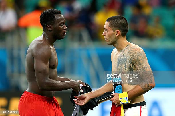 Romelu Lukaku of Belgium and Clint Dempsey of the United States shake hands after the 2014 FIFA World Cup Brazil Round of 16 match between Belgium...