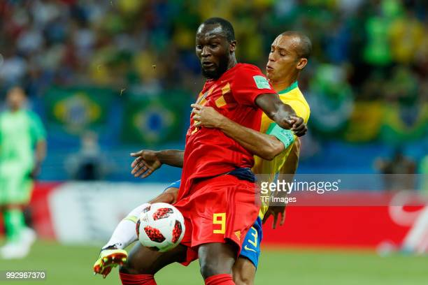 Romelu Lukaku of Belgium and Miranda of Brazil battle for the ball during the 2018 FIFA World Cup Russia Quarter Final match between Brazil and...
