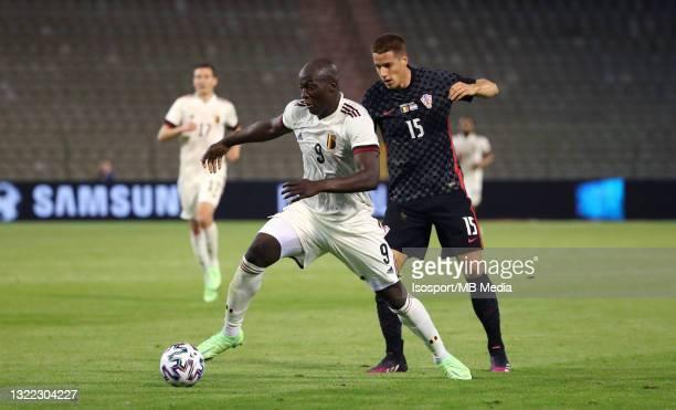 Romelu Lukaku of Belgium battles for the ball with Mario Pasalic of Croatia during the international friendly match between Belgium and Croatia at...