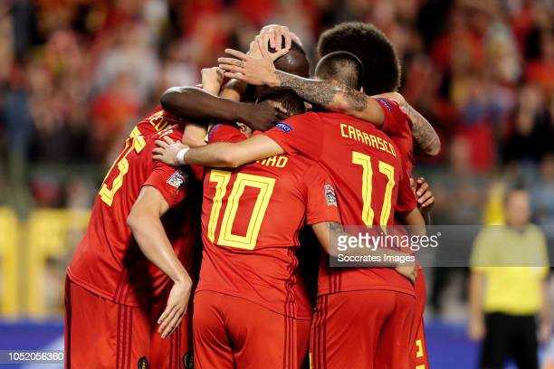 Romelu Lukaku of Belgium celebrates 10 with Thomas Meunier of Belgium Eden Hazard of Belgium Youri Tielemans of Belgium Axel Witsel of Belgium Toby...