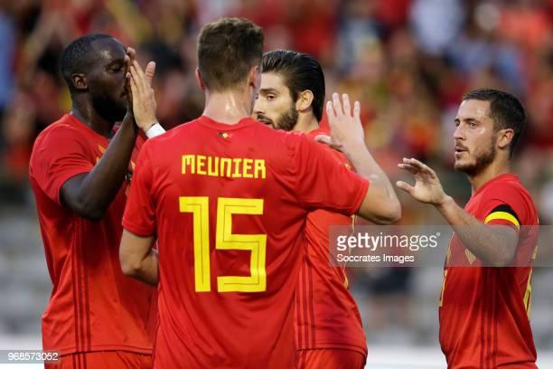 Romelu Lukaku of Belgium celebrates 10 with Thomas Meunier of Belgium Eden Hazard of Belgium during the International Friendly match between Belgium...