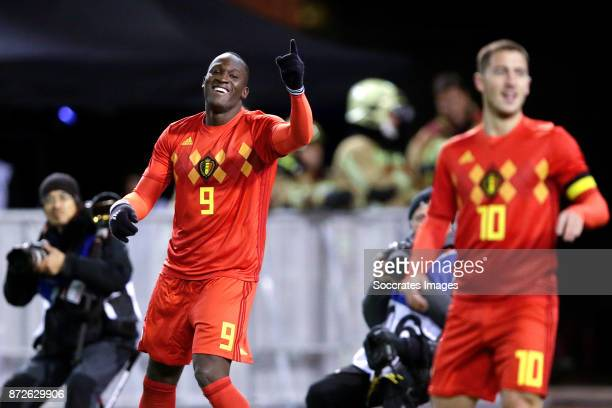 Romelu Lukaku of Belgium celebrates 21 during the International Friendly match between Belgium v Mexico at the Koning Boudewijnstadion on November 10...