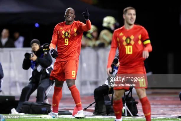 Romelu Lukaku of Belgium celebrates 21 during the International Friendly match between Belgium v Mexico at the Koning Boudewijnstadion on November 10...