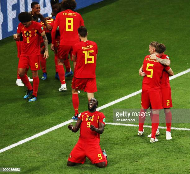 Romelu Lukaku of Belgium celebrates after Nacer Chadli scores his sides third and winning goal during the 2018 FIFA World Cup Russia Round of 16...