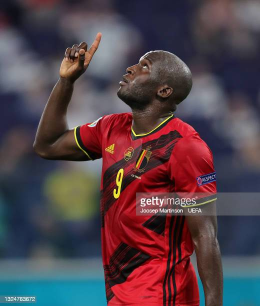 Romelu Lukaku of Belgium celebrates after scoring a goal which is later disallowed by VAR for offside during the UEFA Euro 2020 Championship Group B...