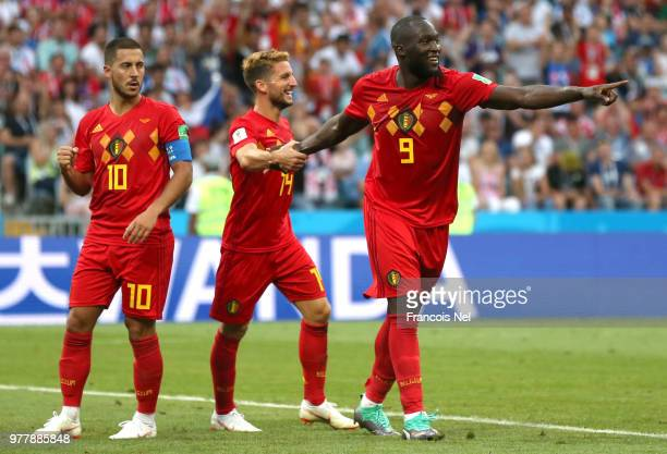 Romelu Lukaku of Belgium celebrates after scoring his team's second goal with team mates Dries Mertens and Eden Hazard during the 2018 FIFA World Cup...