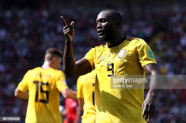 Romelu Lukaku of Belgium celebrates after scoring his team's second goal during the 2018 FIFA World Cup Russia group G match between Belgium and...